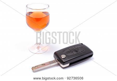 Car Key And Glass Of Wine. White Background