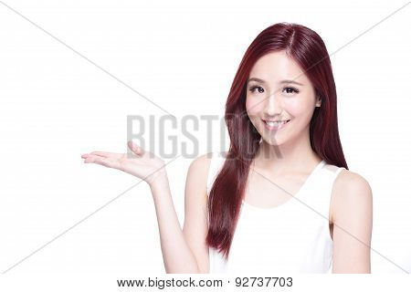 Beauty woman with charming smile to you with health skin teeth and hair isolated on white background asian beauty poster