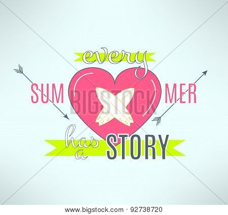 Vector surfing summer lettering design. Cool backround with surf boards, arrows and heart