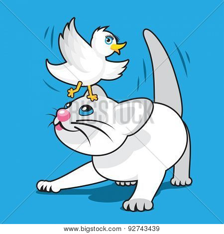 Playful Cartoon White Kitten with White Bird on Head