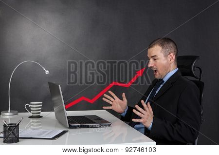 Surprised Businessman And Line Graph