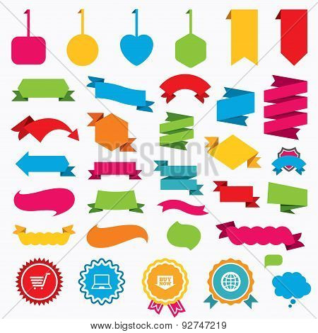 Web stickers, tags and banners. Online shopping icons. Notebook pc, shopping cart, buy now arrow and internet signs. WWW globe symbol. Speech bubbles and award labels. Vector poster
