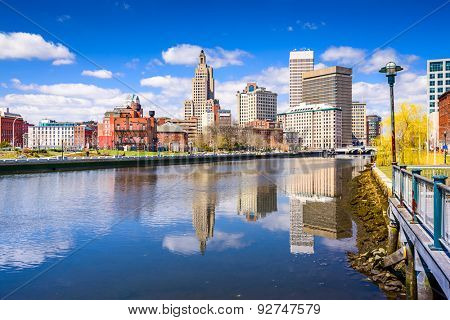 Providence, Rhode Island, USA city skyline on the river.