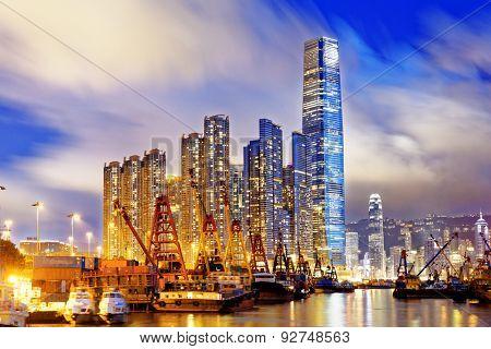 Hong Kong at night, office buildings background