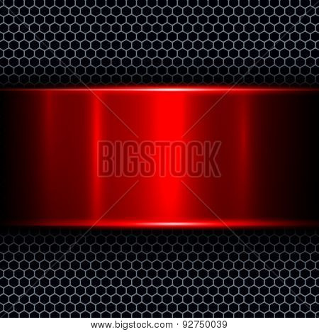 Abstract background with red metal texture banner, vector illustration.