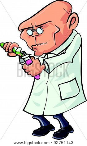Cartoon scientist mixing chemicals