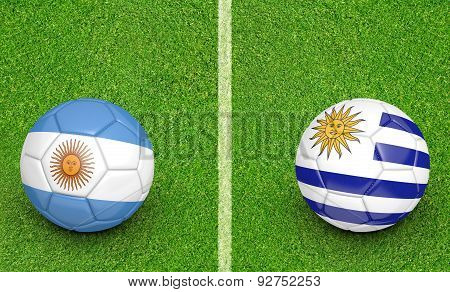 Versus concept for the 2015 Copa America football tournament with national teams Argentina and Uruguay. poster