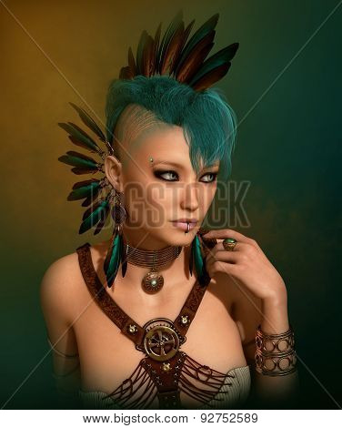 Portrait With Feather Jewelry, 3D Cg