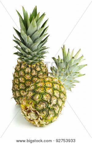 Two whole uncut pineapple fruit (ananas comosus) with green leaves over white background poster
