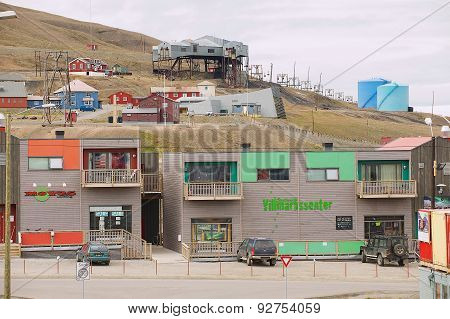 View to the street of Longyearbyen, Norway.