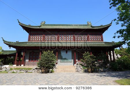 Chinese old style building location at the park of Shou xihu in YangzhouChina poster