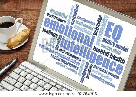 emotional intelligence (EQ) word cloud on a laptop screen with a cup of coffee,
