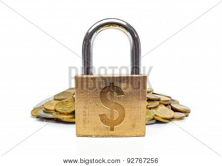 A security lock with hole and a dollar sign and a pile of coins / financial security failure