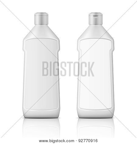 White plastic bottle for bleach with label.