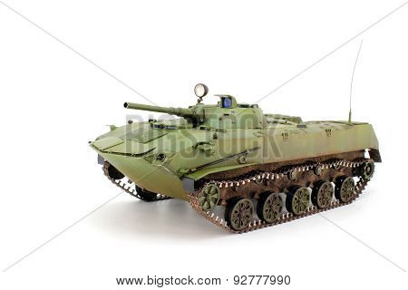 Green airborne combat vehicle on a white background poster