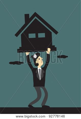 Under Financial Pressure Of Mortgage Loan Vector Illustration