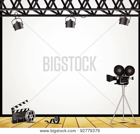Illustration of a vintage theater spotlight on a white background on the stage poster