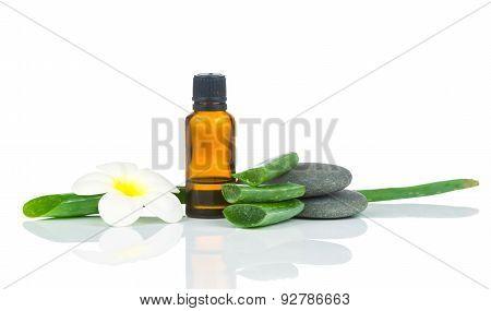 Spa treatment set on white background