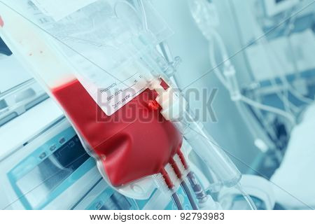 Blood For Transfusion On A Background Of Hardware In The Intensive Care
