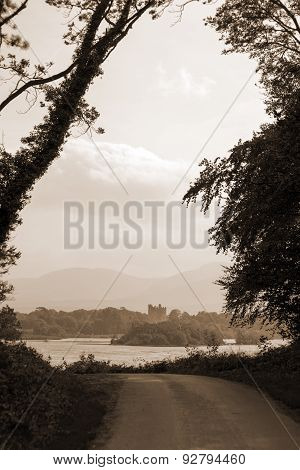 Sepia Ross Castle At The End Of A Killarney Forest Path