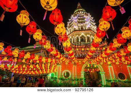 Penang, Malaysia - February 27, 2015: Beautifully lit-up Kek Lok Si temple in Penang, Malaysia during the Chinese New Year.