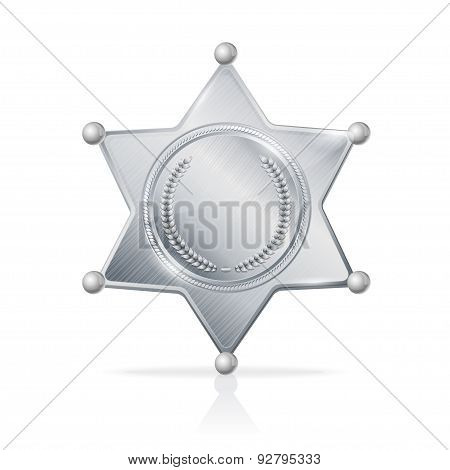 Vector silvery sheriff badge star empty