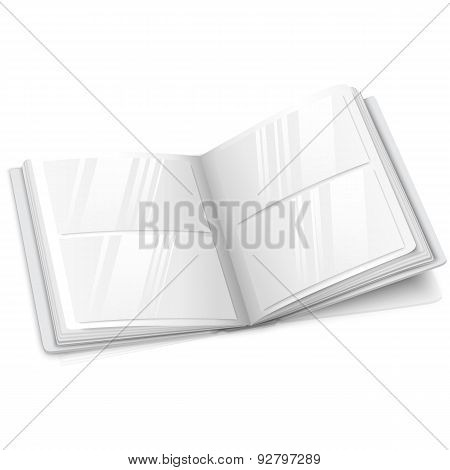 Realistic isolated on white blank vector opened photo album for your messages, design concepts, phot