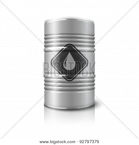 Vector realistic big barrel - oil sign, isolated on white background with reflection.