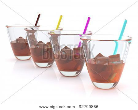 realistic whiskey with ice and straws in the glass. CMYK. 3D