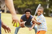 Grandfather With Son And Grandson Playing Baseball poster