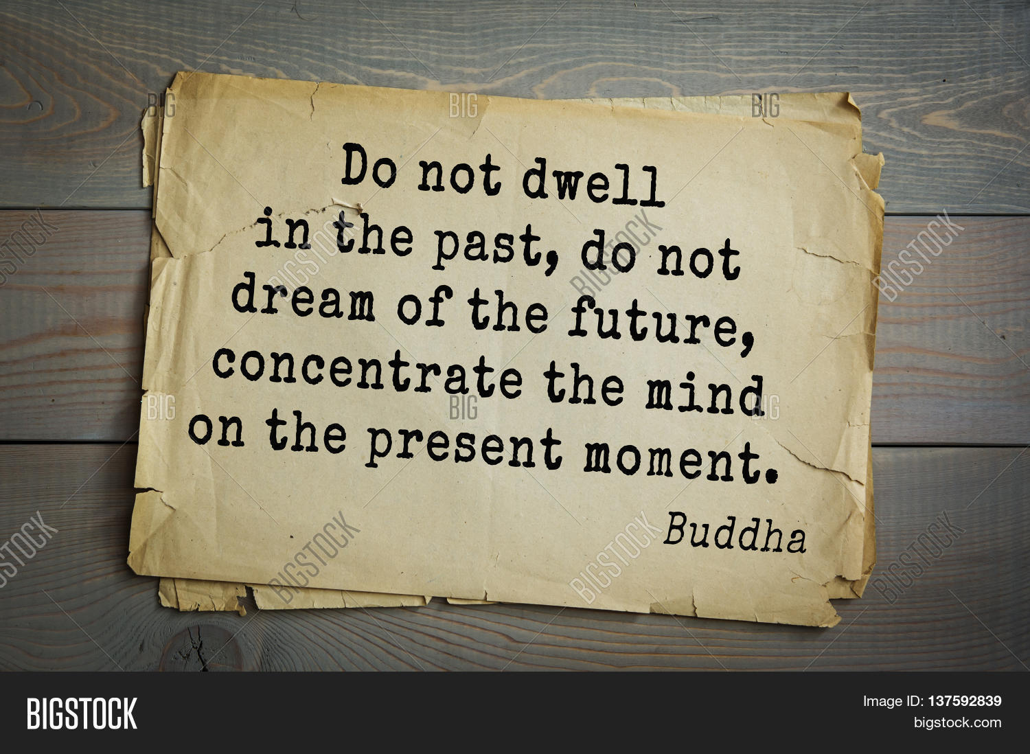 Buddha Quote On Old Paper Background. Do Not Dwell In The Past, Do Not
