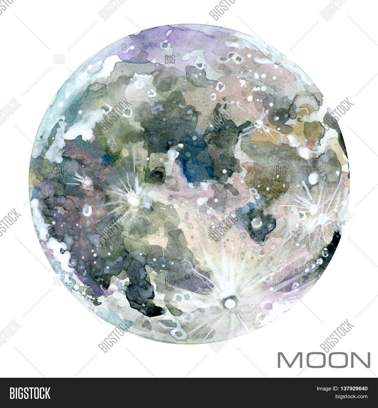 Moon Watercolor Background Planet Illustration