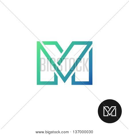 Letter M divided wide line style colorful logo. Linear letter M symbol.