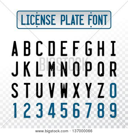 License plate font letters with embosse transparent overlay effect. Car number design alphabet.