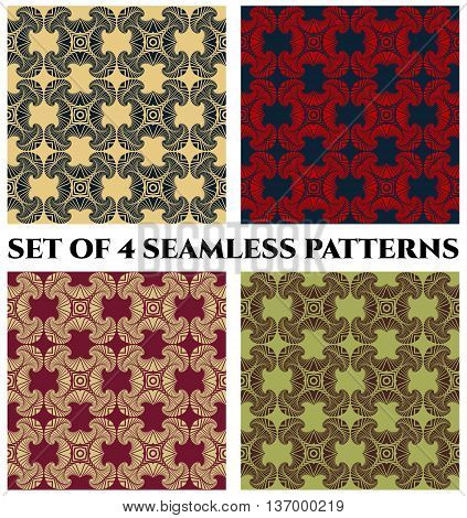 Abstract trendy seamless patterns with decorative ornament of yellow blue red beige vinous green and brown shades