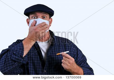 Man with breathing mask and cigarette