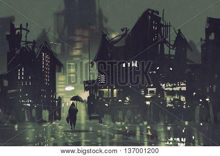 man with umbrella walking in dark city at night, illustration painting