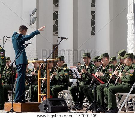 MOSCOW, RUSSIA - May 28, 2016: Band-master during a performance. Central Avenue in the Park of VDNH Moscow. International Military Music Festival