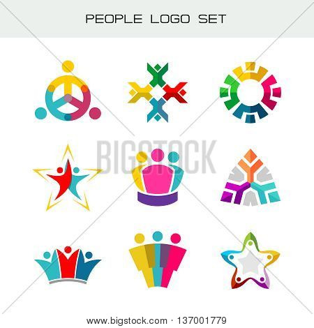 People logo set. Group of two three four or five people logos. Social network symbols. Happy people color icons.