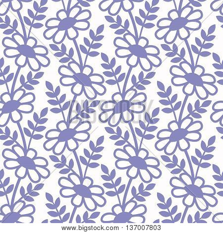 Purple daisies's silhouettes on the white background. Vector seamless pattern.