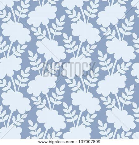 Daisy silhouettes on the blue background. Vector seamless pattern.