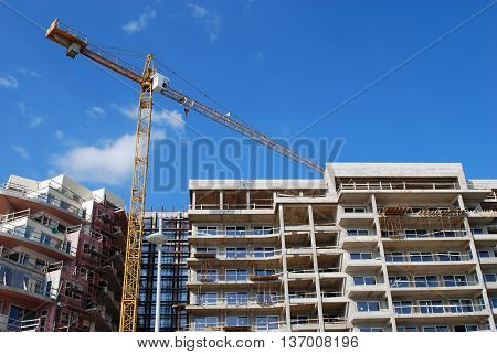 Construction Crane Building New Modern House Concept