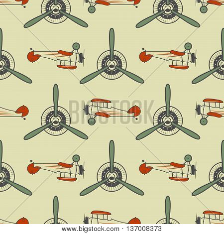 Vintage airplane pattern. With Old Biplanes, propeller elements and symbols. Aircraft seamless background. Retro colors wallpaper. Aviation style. Vector. For web projects, textile print, tee design.