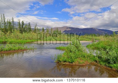 Water landscape wildlife Taimyr. Mountain river on the Putorana plateau.