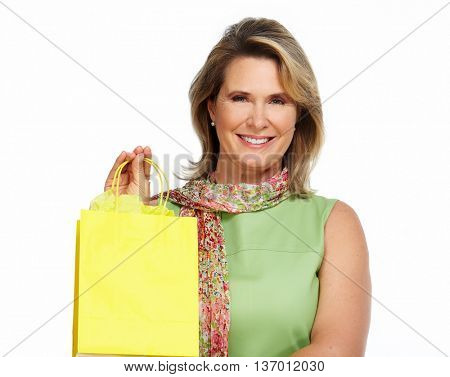 Beautiful senior woman with shopping bags.