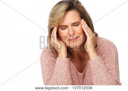 Senior woman having a migraine headache.