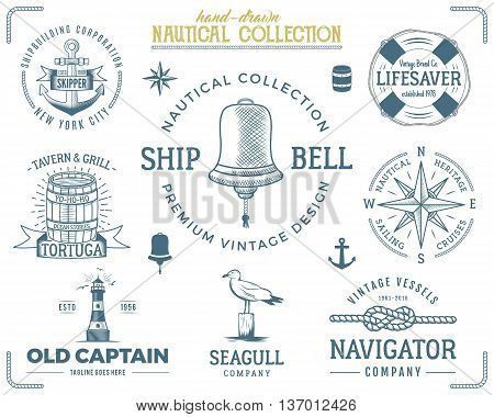 Vintage nautical stamps set. Old ship retro style. Sailing labels, emblems illustration. Nautical graphic symbols - rope, wind rose, lighthouse. Vector nautical sketch design. Adventure lifestyle.