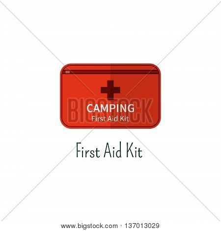 First aid kit flat icon. Camping first aid box color pictogram. Summer graphic for webprojects, infographics, printing. Vector medicine care symbol