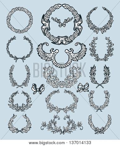 Laurel wreath branches set. Decorative elements at engraving style.