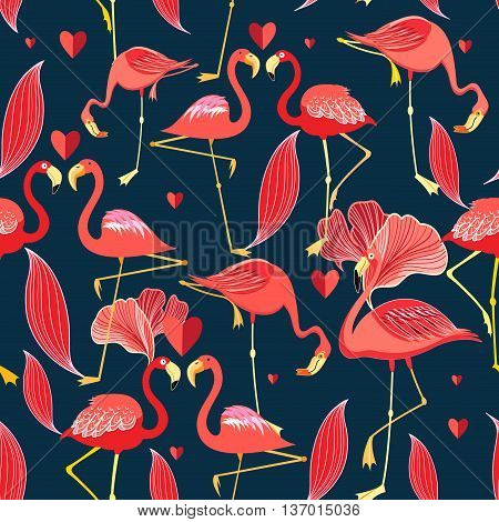 Graphic seamless pattern of red flamingo on a dark background